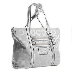 LARGE SILVER COACH POPPY GLAM TOTE